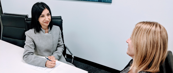Lilian Ghanem holding an interview with a potential graduate program candidate