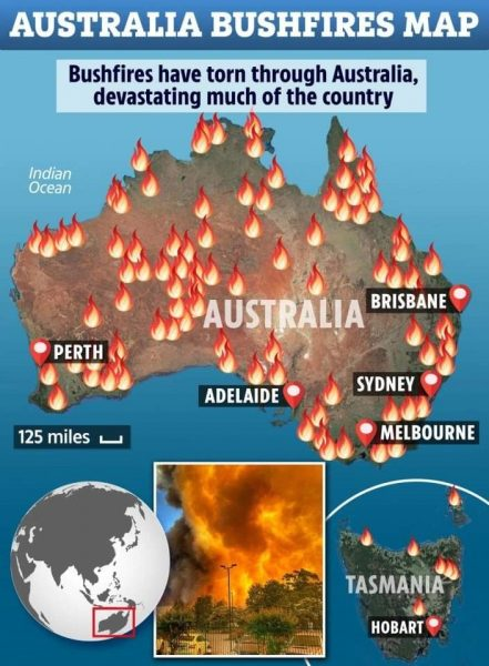 Map of Australia showing fires burning across the country