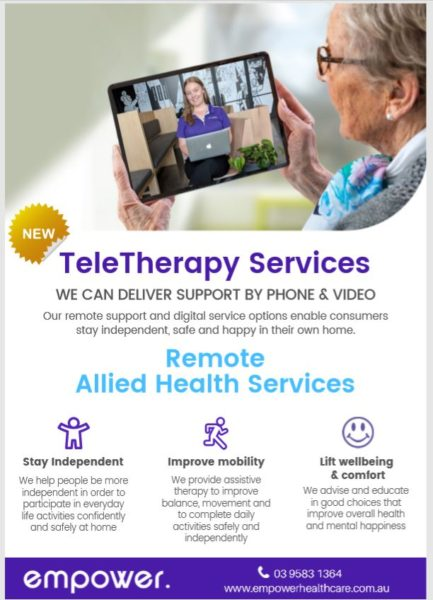 TeleTherapy Services Flyer for Home Care packages & NDIS participants