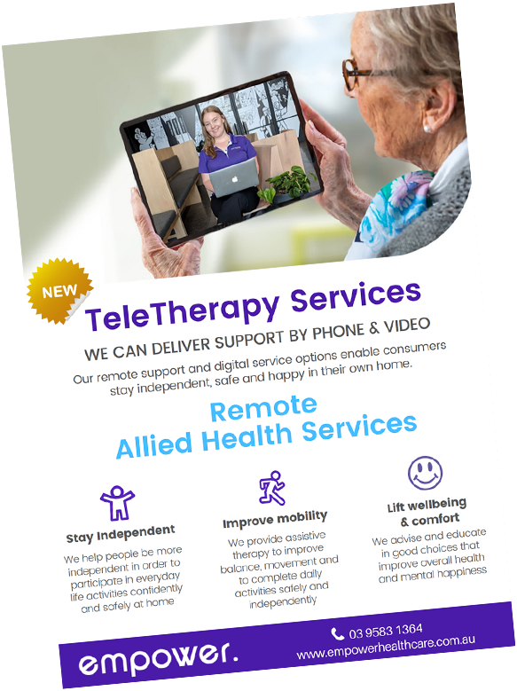 Empower TeleTherapy Services Flyer for Home Care Packages & NDIS participants