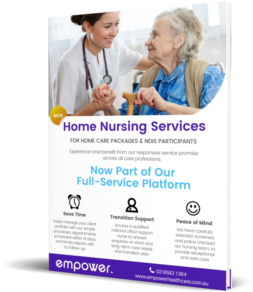Home Nursing Services Flyer for Home Care packages & NDIS participants