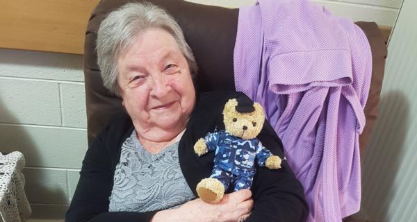 Connie Van Leuverden receiving her 2020 Legacy Week bear