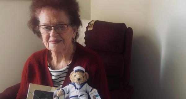 Jacqueline Dettmen receiving her 2020 Legacy Week bear