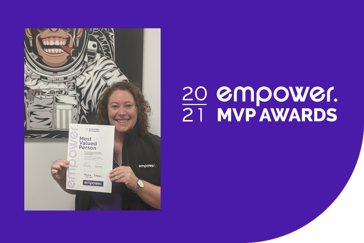 Nicola Johnson - Most Valued Person, May 2021 winner